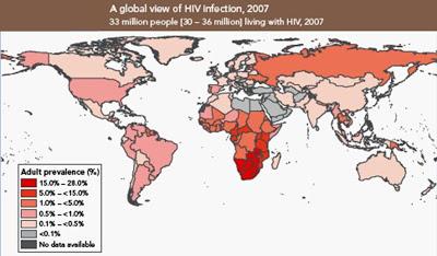 Figura 1- Prevalência global da infecção pelo HIV nos diversos países.