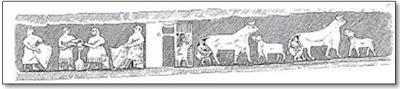 Figura 8- Cena de ordenha no Egito, ano 2900 antes de Cristo, encontrada em escavação, qual acredita-se tenha contexto religioso.(Cópia de Simoons, Geographical Review, vol. 61, 1971, copyright da American Geographical Society of New York).