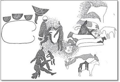 Figura 9- Desenho em rocha na região do Saara (período medieval pecuário, 4.000 a 3.000 antes de Cristo).(Cópia de Simoons, Geographical Review vol.61, 1971, copyright da American Geographical Society of New York).