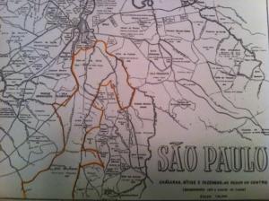 Figura 6- Mapa da cidade de São Paulo no século XVIII mostrando as terras dos Fagundes, abrangendo desde a Liberdade até o Jabaquara.