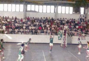 Figura 29- Disputa da final do volei da INTERMED de Santos de 1970 por nós vencida. Estou levantando a bola.