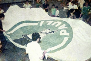 Figura 30- Nossa gloriosa bandeira o Nicodemo celebrando a conquista da INTERMED de Santos de 1970.