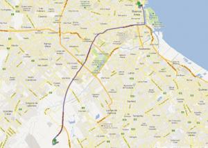 Figura 6- A rota de cerca de 35 km que as caravanas peronistas seguiram caminhando para celebrar a chegada de volta ao país do líder carismático Juan Domingo Perón.