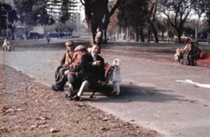 Figura 8- Nosso filho Uly passeando em pleno inverno portenho no parque Centenário em um fim de semana. Neste parque que se localizava próximo ao nosso apartamento eu costumava dar minhas corridas na volta do hospital.
