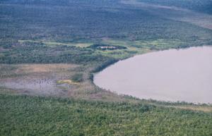 Figura 3- Vista aérea mais próxima da lagoa do Ipavu e da aldeia Camaiurá.