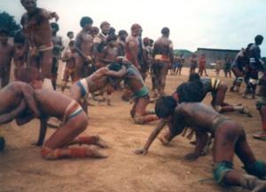 """Figura 7- Tradicional luta do """"uca-uca"""" durante festa do Kuarup. Notar a excelente forma física dos índios."""