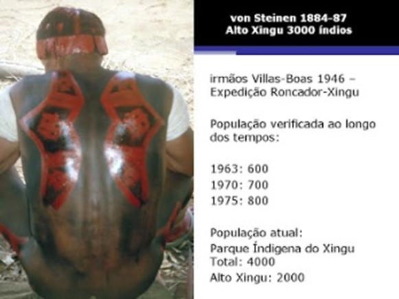 Tabela 6- Variação da população indígena do PIX desde 1963, início da constituição do parque, até mais recentemente, demonstrando um significativo aumento da mesma a partir da proteção oferecida contra as frentes de ocupação da nossa sociedade.