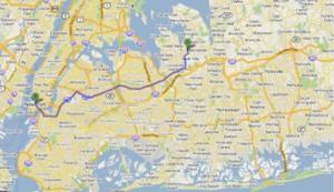 Figura 1- Mapa da cidade de Nova Iorque e o trajeto a ser trilhado entre nosso apartamento e Manhattan.