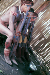 Figura 18- Homens índios no interior da casa das flautas em plena atividade.