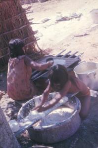 Figura 2- Mulheres índias ralando a mandioca.