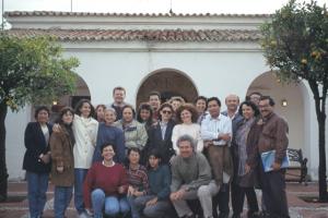 Figura 36- Minha participação do curso de Mestrado Internacional na Universidade Internacional de Andalucia, em La Rábida, em 1996. Grupo de alunos do curso, todos eles da américa latina, que lá permaneceram durante 3 meses.