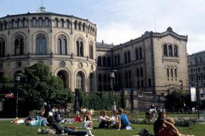 Figura 2- Jovens desfrutando os raros momentos de calor do verão no jardim de uma praça no centro de Oslo.