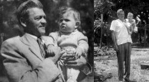 Figura 19: Meu avô Lobo e eu ainda lactente. Foi ele que me iniciou na prática do futebol em sua chácara no Guarapiranga.