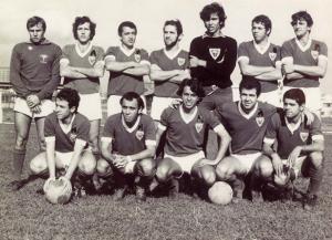 Figura 24: Time de futebol da EPM campeão da FUPE de 1970. Estou agachado penúltimo à esquerda.
