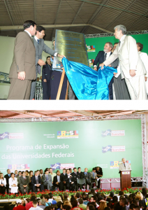 Figuras 66-67: Cerimônia de inauguração do campus de Guarulhos com a presença do presidente da república Luís Inácio da Silva, do ministro da Educação Fernando Haddad, do ministro da Cultura Gilberto Gil e do prefeito de Guarulhos Elói Pietá, em março de 2006.