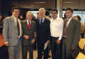 Figura 73: Diretores da SPDM Samuel Goihman, José Roberto Ferraro, Ulysses Fagundes e Carlos Alberto Garcia Oliva presentes à cerimônia de posse.