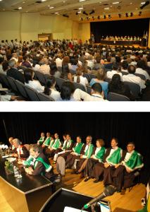 Figuras 82-83: Cerimônia de posse de 11 dos 31 novos Professores Titulares no maior concurso realizado na história da Escola Paulista de Medicina durante o quatriênio 2003-7.