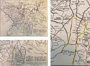 Figuras 21-22-23: Mapas da cidade de São Paulo em 1888 onde se pode identificar os sítios dos Fagundes (Arthur, Alfredo e Felício) na região da Vila Mariana. Alfredo foi meu bisavô.
